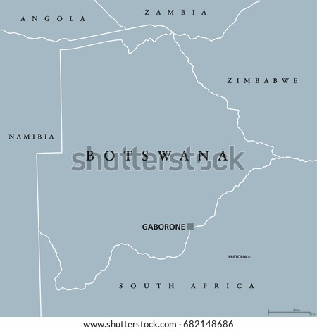 Botswana Political Map.Botswana Political Map Capital Gaborone International Stock Vector