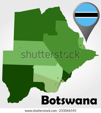 Botswana Political Map.Botswana Political Map Green Shades Map Stock Vector Royalty Free