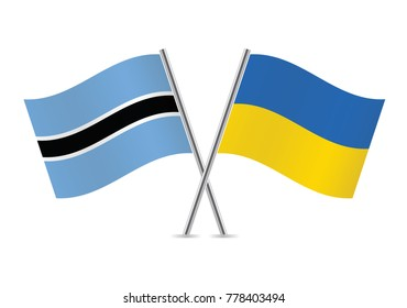 Botswana and Ukraine flags. Vector illustration.