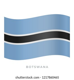 Botswana waving flag vector icon. National symbol of Botswana. Vector illustration isolated on white.