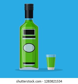 Bottle of absinthe with shot glass. Absinthe alcohol drink. Vector illustration in flat style