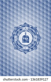 bottle of alcohol icon inside blue badge with geometric pattern background.
