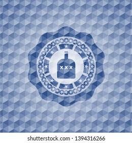bottle of alcohol icon inside blue emblem or badge with geometric pattern background.