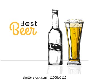 Bottle of beer. Glass with beer. Best beer. Vector illustration of a sketch style.