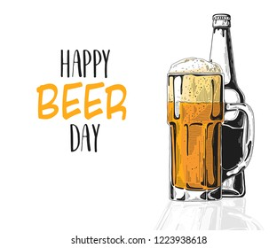 Bottle of beer. Glass with beer. Caption: happy beer day. Vector illustration of a sketch style.