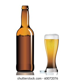 Bottle and beer glass with froth.