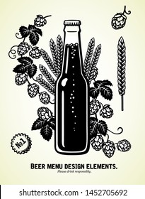Bottle of beer with hop branches and ears of barley or wheat. Hand drawn set of vector elements isolated on white background.
