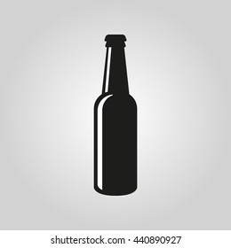 Bottle of beer icon. pub, bar symbol. UI. Web. Logo. Sign. Flat design. App.Stock vector