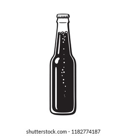 Bottle of beer or soda. Hand drawn vector illustration isolated on white background.