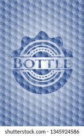 Bottle blue badge with geometric background.