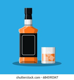 Bottle of bourbon whiskey and glass with ice. Whiskey alcohol drink. Vector illustration in flat style