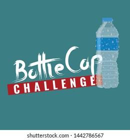 Bottle cap challenge. Bottle cap text for your t-shirt design. Vector illustration.