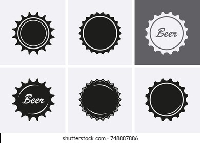 Bottle Cap Icons. Beer icons. Vector set, top view