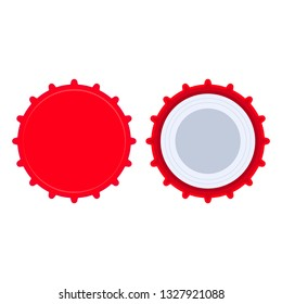 Bottle cap red liquid object set clean template. Beer circle pictogram flat vector icon top view. Metal badge  soda