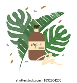 Bottle of certified organic natural cosmetics for skincare and bodycare