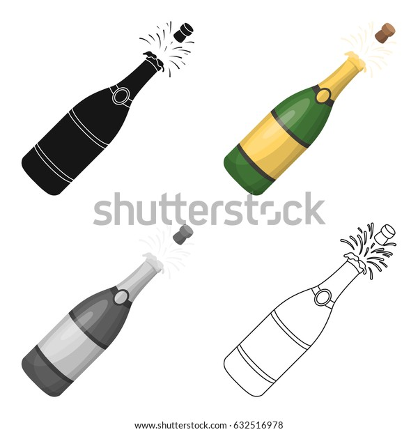 A bottle of champagne with a cork.Party and parties single icon in cartoon style vector symbol stock illustration.