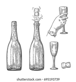 Bottle of Champagne explosion and hand hold glass. Vintage black vector engraving illustration for web, poster, invitation to party. Hand drawn design element isolated on white background.