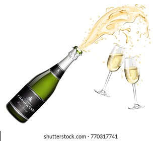 Bottle of Champagne explosion and two glasses
