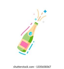 Bottle of champagne flat color icon.  Christmas, new year, birthday celebration vector illustration, background. Alcohol products. Sign for web page, mobile app, banner, social media.