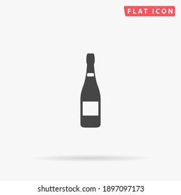 Bottle of Champagne flat vector icon. Hand drawn style design illustrations.