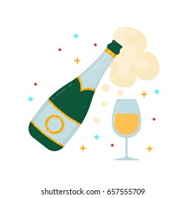 A bottle of champagne and a glass. Vector modern flat style cartoon character illustration. Isolated on white background. Win, award,celebrate concept