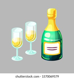 Bottle of champagne and wine glasses with carbonated alcohol beverage in cartoon style. Holiday celebrating party. Cute vector illustration on isolated background.