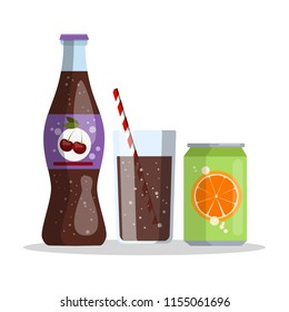 Bottle with cherry cola and aluminum can of orange juice. Isolated vector flat illustration
