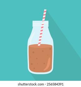 Bottle of chocolate milkshake with straw icon. Flat design. Vector illustration