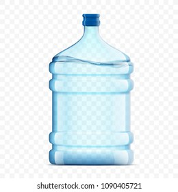 Bottle with clean, fresh water on a transparent background. Plastic container for the cooler and dispenser. Stock vector illustration.