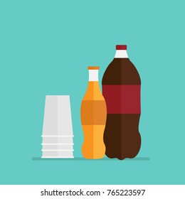 Bottle of cola soda with paper cup. party drink. flat design