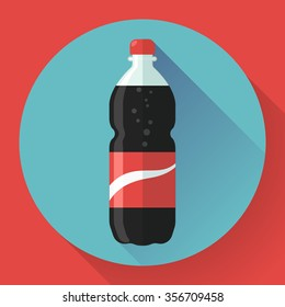 Bottle of cola soda with red lable, vector illustration. Flat designed style.
