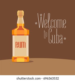 Bottle of Cuban rum vector illustration. Travel to Cuba concept design, background with traditional alcoholic drink