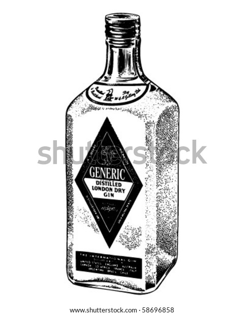 Image Vectorielle De Stock De Bouteille De Gin Distille Clip Art 58696858