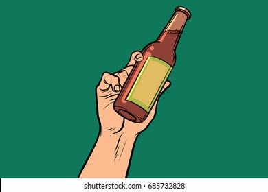 bottle with drink in hand. Pop art retro vector illustration