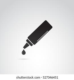 Bottle drop, dispenser, ketchup, glue, gel, cosmetic icon. Vector art.