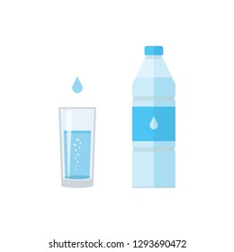 Bottle, drop and glass of water. Abstract concept, icon. Vector illustration on white background.