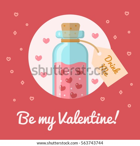Bottle Elixir Love Valentines Day Card Stock Vector Royalty Free