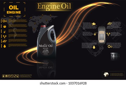 bottle engine oil background, vector illustration