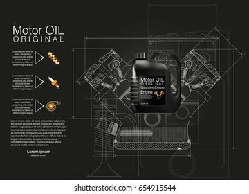 Bottle engine oil background, vector illustration, Technical illustrations.