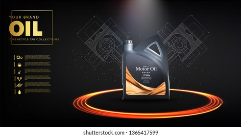 Bottle engine oil on a background a motor-car piston, Technical illustrations. Realistic 3D vector image. canister ads template with brand logo. 	Engine oil advertisement banner