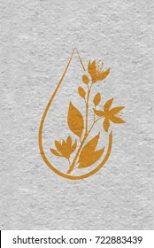 A bottle with essential oil of bitter orange (flat icon). A drop of neroli essential oil (logo). Branches of neroli flowers. Aromatherapy logo. Material design, craft paper textured.