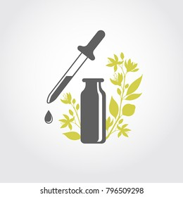 A bottle with essential oil of bitter orange (flat icon). A drop of neroli essential oil (logo). Branches of neroli flowers. Aromatherapy, perfumery, cosmetics, spa logo.