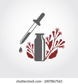 A bottle with essential oil of clove flower buds (flat icon). A drop of clove essential oil (logo). Clove branch with flowers and buds. Aromatherapy, perfumery, cosmetic, spa logo.
