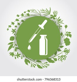 A bottle with essential oils of neroli (bitter orange), clove, ylang-ylang, rose, rosemary, lavender (flat icon). A drop of essential oil (logo). Branches of essential oil plants. Aromatherapy logo.
