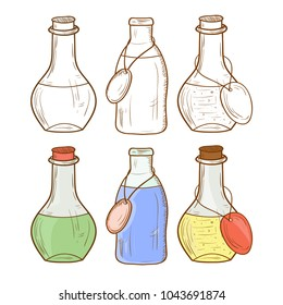 Bottle, flask. Object. Sketch. Set. Color and monochrome drawing.