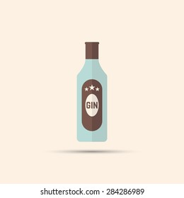 bottle of gin vector colored flat icon on bright background