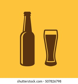 Bottle and glass of beer icon. Beer and pub, bar symbol. UI. Web. Logo. Sign. Flat design. App.Stock vector