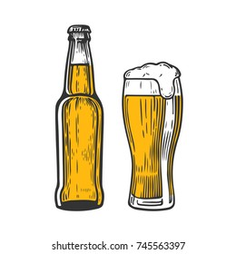 Bottle and glass of beer isolated on white background, hand-drawing. Vector vintage engraved illustration.