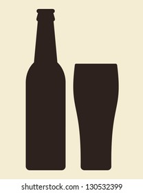 Bottle and glass of beer - vector illustration