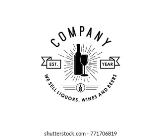 Bottle with Glass Beer and Wheat  for Bar Illustration Company Logo Vintage